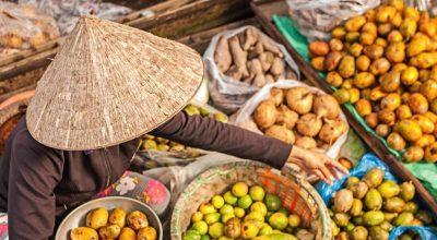 corbeilles des fruits tropicales du Vietnam