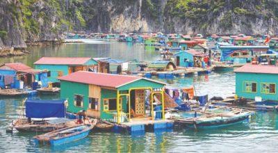 Le village flottant en baie d'Halong