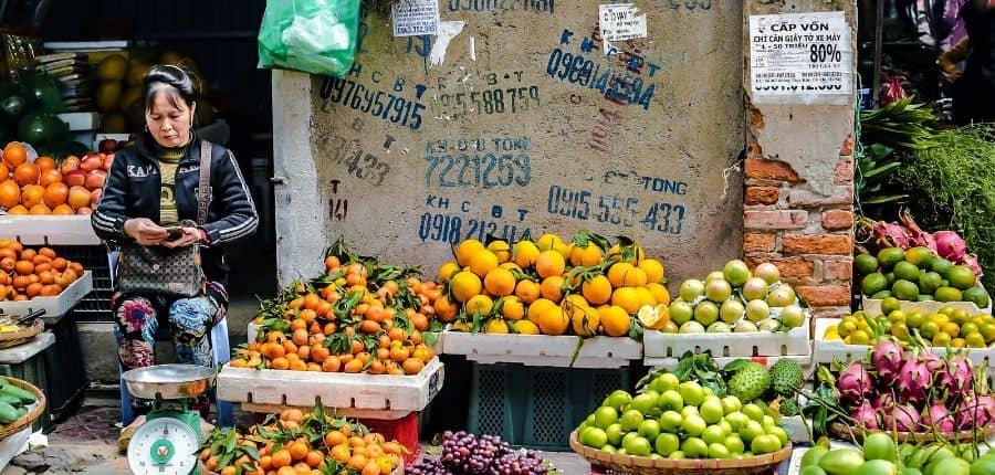 Vendeuse des fruits à Hanoi - Circuit Découverte du joyau du Nord Vietnam 8 jours